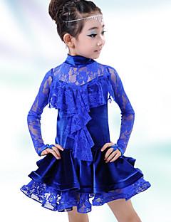 Latintanz-Kleider(Dunkelblau,Elastan,Latintanz) - fürKinder Kleid Lange Ärmel Niedrig