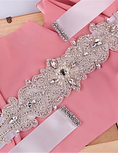 Satin Wedding / Party/ Evening / Dailywear Sash-Sequins / Beading / Pearls / Rhinestone Women's 98 ½in(250cm)Sequins / Beading / Pearls /