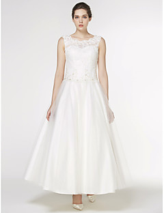 a line scoop neck ankle length lace tulle wedding dress with appliques lace by lan