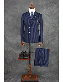 Suits Tailored Fit Notch Double Breasted Four-buttons Polyester Checkered / Gingham 2 Pieces Dark Blue Straight Flapped Double (Two)Dark