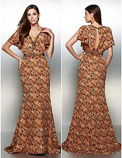 패턴 / 인쇄와 TS couture® 공식적인 이브닝 드레스 트럼펫 / 인어 V 넥 청소 / 브러쉬 기차 쉬폰
