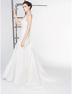 robe de mariée trompette / sirène - - de lanting train tribunal v-cou dentelle ivoire