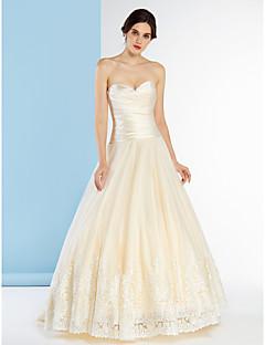 Lanting Bride A-line Wedding Dress-Sweep/Brush Train Sweetheart Satin / Tulle