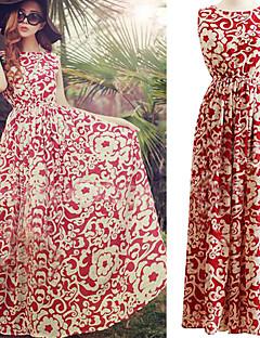 kvinnor blå / röda runda tryck chiffon strand klänning