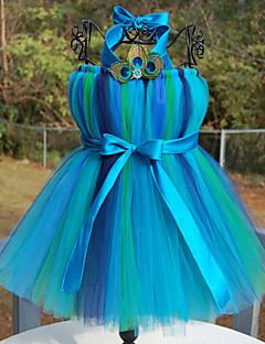 Ball Gown Tea-length Flower Girl Dress - Tulle / Polyester Sleeveless