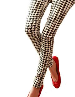 Teste padrão de grade de forma magro lápis leggings das mulheres