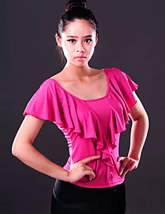 Ballroom Dance Tops Women's Performance Spandex Draped 1 Piece Black / Fuchsia / Red Modern Dance Top