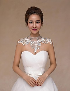 Wedding  Wraps Collars Sleeveless Lace Ivory Wedding Crystal / Pearls