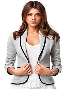 Women's Solid Black / Gray Jackets Asymmetrical Long Sleeve