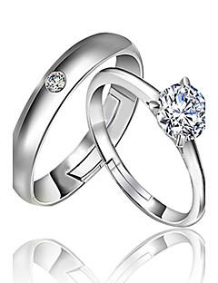 Gyűrűk Esküvő / Parti / Napi Ékszerek Ezüst Női / Férfi / Pár Páros gyűrűk 2pcs,Állítható Ezüst