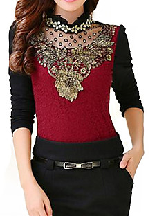 Women's Casual/Daily Simple Spring / Fall / Winter Blouse,Solid Stand Long Sleeve Red / Black Polyester Medium