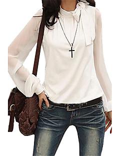 Mulheres Blusa Casual Simples Outono,Sólido Branco / Preto Poliéster Laço Manga Longa Média