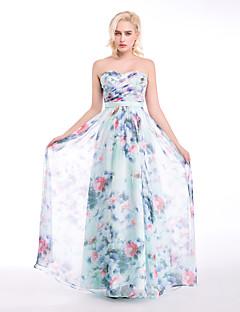 저녁 정장파티 드레스 - 프린트 볼 드레스 바닥 길이 스윗하트 쉬폰