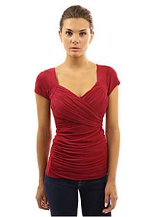 V-hals - Overige - Met ruches - Vrouwen - T-shirt - Korte mouw