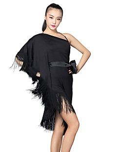 Latin Dance Dresses Women's Training Satin / Milk Fiber Sash/Ribbon / Tassel(s) 2 Pieces Black Latin Dance Dress / Shorts