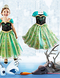 Cosplay Costumes Princess / Fairytale Movie Cosplay Green Patchwork Dress Halloween / Christmas / New Year Kid Cotton / Chiffon