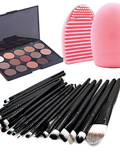 20pcs Makeup Brushes Set Eyeshadow Eyeliner Lip Brush Tool+15Colors Matt Eyeshadow Palette+1PCS Brush Cleaning Tool