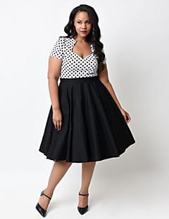 Dámské Vintage Swing Šaty Puntíky Do V Délka ke kolenům Bavlna
