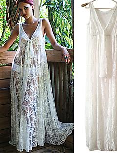 kvinnor snör åt vit klänning, sexig / strand / maxi djup v ärmlös genomskinlig