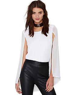 Damen Solide Einfach Lässig/Alltäglich Bluse,Rundhalsausschnitt Alle Saisons Ärmellos Weiß Polyester Lichtdurchlässig