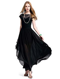 여성의 주름장식 드레스 라운드 넥 짧은 소매 맥시 쉬폰