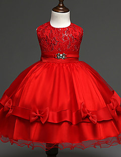 Robe Fille de Polyester Printemps / Automne Or / Rouge