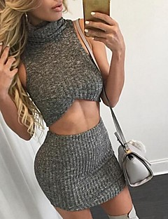 Women's Solid Black / Beige / Gray Sleeveless Pullover and Short Skirt Knitwear 2 Pieces a Set , Turtleneck Sleeveless