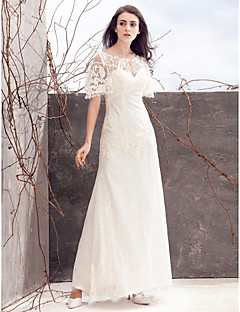 Lanting Sheath/Column Wedding Dress - Ivory Ankle-length Scoop Lace