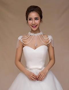결혼식 랩 카라 민소매 반짝이 아이보리 웨딩 새해 장식 / 진주