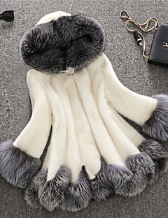 Women Faux Fur Top , Lined Mink fur coat female fox fur hooded cultivate one's morality in the long coat   Plus size