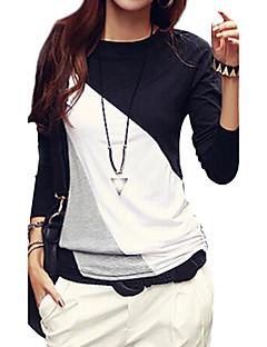 Damen Einfarbig Einfach / Street Schick Lässig/Alltäglich / Übergröße T-shirt,Rundhalsausschnitt Herbst Langarm Schwarz / BraunBaumwolle