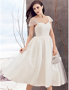 Lan Ting A-line Wedding Dress - Ivory Tea-length Queen Anne Tulle