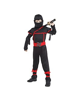 Stealth Ninja Boys Costume Child samurai warrior Anime Cosplay Fancy dress for Halloween party Dress Black Ninja Warrior Costume