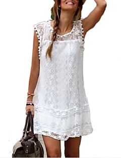 2015 new fashion women white lace mini dress casual o-neck short sleeve patchwork tassel dresses