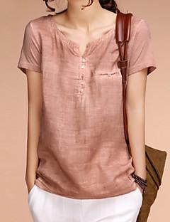 Γυναικεία Μπλούζα Καθημερινά Απλό Μονόχρωμο,Κοντομάνικο Λαιμόκοψη V Άνοιξη Μεσαίου Πάχους Λινό Πορτοκαλί