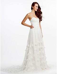 A-라인 웨딩 드레스 성당 트레인 끈없는 스타일 쉬폰 와 크리스-크로스