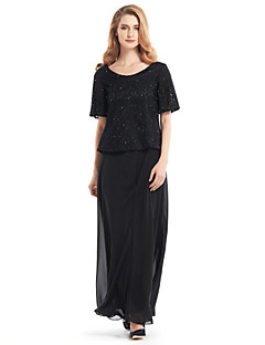Lanting Sheath/Column Mother of the Bride Dress - Black Ankle-length Half Sleeve Chiffon / Lace