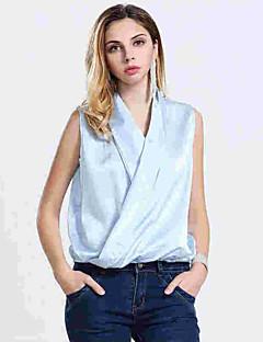 Vrouwen Eenvoudig Zomer Overhemd,Casual/Dagelijks Effen V-hals Mouwloos Blauw / Roze / Wit / Zwart Polyester Dun