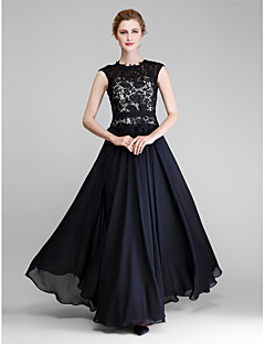 Lanting A-line Mother of the Bride Dress - Black Floor-length Sleeveless Chiffon / Lace