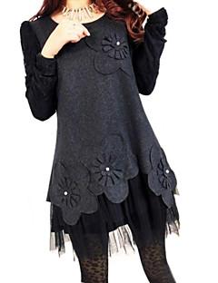 Women's Round Collar Plus Size Lace Patchwork Dress