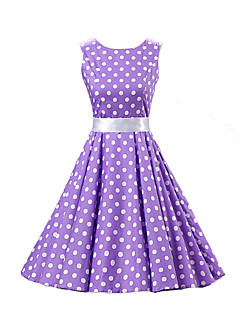 Women's Going out Vintage / Cute A Line / Skater Dress,Polka Dot Round Neck Knee-length Sleeveless Purple Cotton Spring Mid Rise