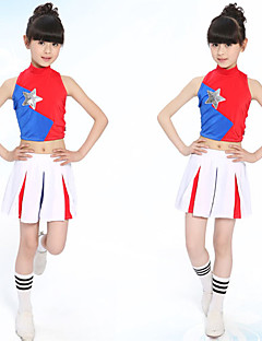 Cheerleader Costumes Outfits Children's Performance Cotton Pleated 2 Pieces Long Sleeve Skirt / Top S:28cm  M:30cm  L:32cm  XL:34cm