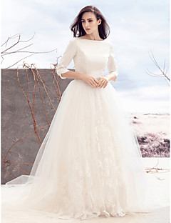 Lanting Bride® A-line Wedding Dress Sweep / Brush Train Bateau Satin / Tulle with Appliques / Button