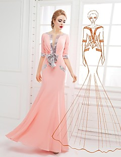 Formal Evening Dress Trumpet / Mermaid Scoop Floor-length Chiffon with Bow(s) / Sequins
