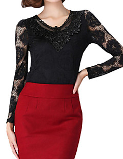 Spring Plus Size Women's Lace Splicing V Neck Long Sleeve Slim Bottoming T-Shirt Tops Blouse