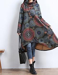 Damen Kleid - A-Linie / Lose Retro / Leger Blumen / Einfarbig / Patchwork Asymmetrisch Baumwolle Rundhalsausschnitt
