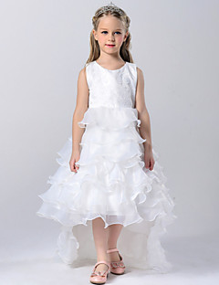 גזרת A שובל קורט שמלה לנערת הפרחים - טול / פוליאסטר ללא שרוולים עם תכשיטים עם