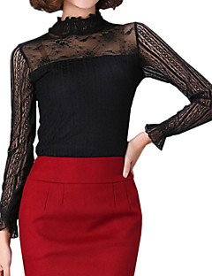 Spring Plus Size Women's Lace Splicing Stand Collar Long Sleeve Slim Bottoming T-Shirt Tops Blouse