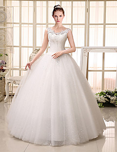 Ball Gown V-neck Floor Length Lace Tulle Wedding Dress with Beading Sequin Appliques