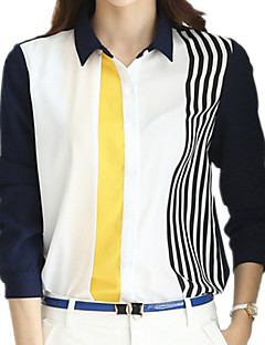 Spring Summer Women's Hit Color Striped Shirt Collar Long Sleeve Slim Chiffon OL Shirt Casual Blouse Tops